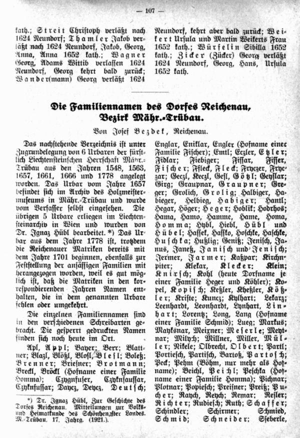 Die Familiennamen des Dorfes Reichenau, Bezirk Mähr. Trübau