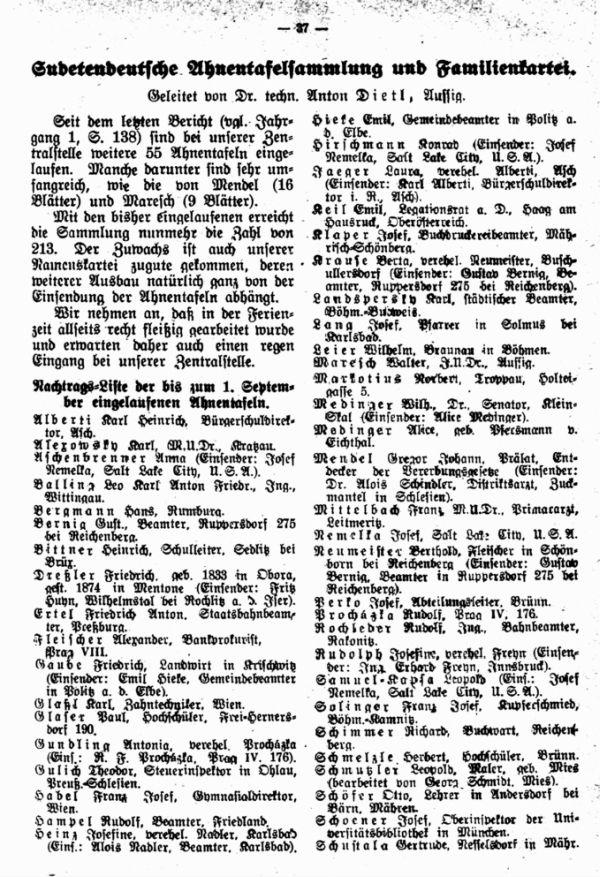 Sudetendeutsche Ahnentafelsammlung und Familienkartei