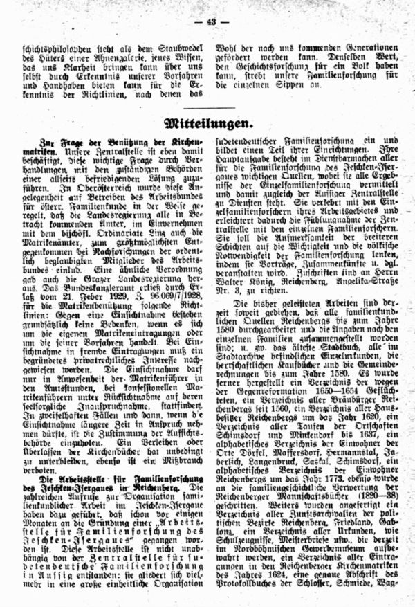 Zur Frage der Benützung der Kirchenmatriken - Die Arbeitsstelle für Familienforschung des Jeschken-Isergaues in Reichenberg
