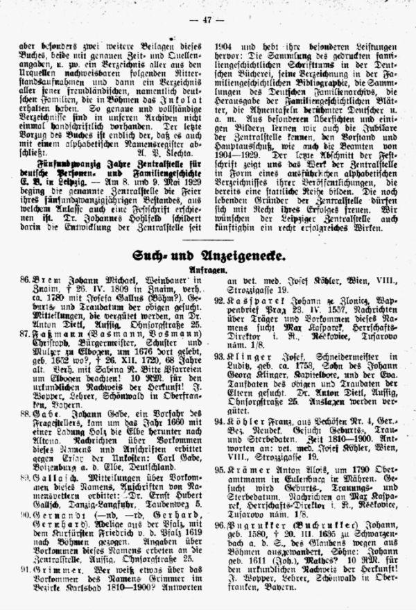 25 Jahre Zentralstelle für Deutsche Personen- und Familiengeschichte in Leipzig - Such- und Anzeigeecke