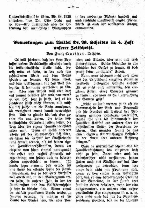 Bemerkungen zum Artikel Dr. W. Scheidts im 4. Heft unserer Zeitschrift - 1