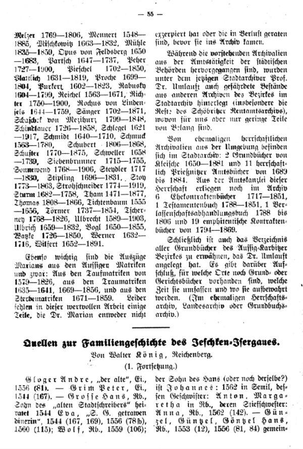 Quellen zur Familiengeschichte des Jeschken-Isergaues. 1. Das älteste Stadtbuch von Reichenberg - 1