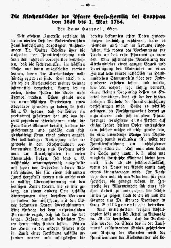 Die Kirchenbücher der Pfarre Groß-Herrlitz bei Tropau von 1646 bis 1. Mai 1784 - 1
