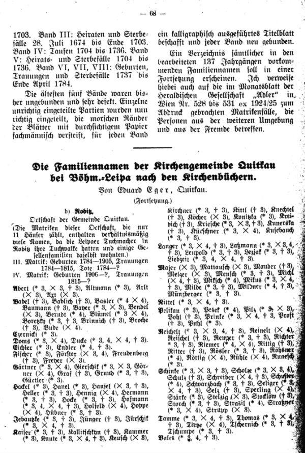 Die Familiennamen der Kirchengemeinde Quitkau bei Böhm.-Leipa nach den Kirchenbüchern - 1