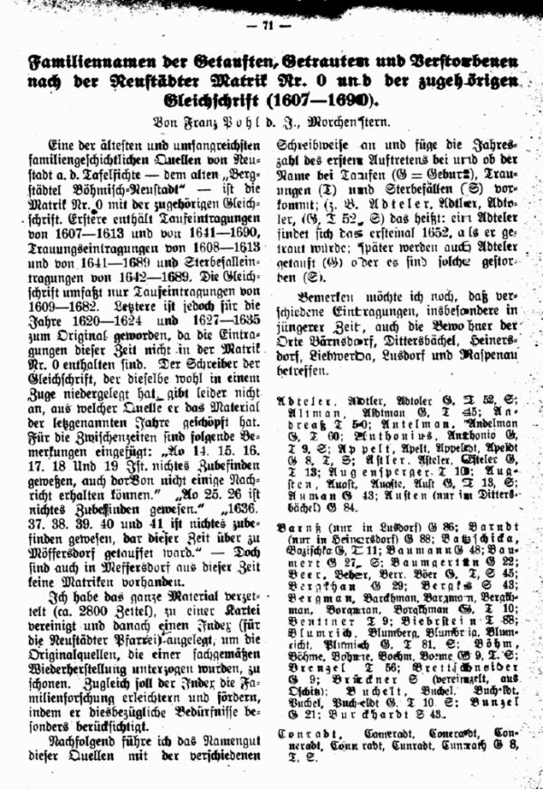 Familiennamen der Getauften, Getrauten und Verstorbenen nach der Neustädter Matrik Nr.0 und der zugehörigen Gleichschrift (1607-1690) - 1