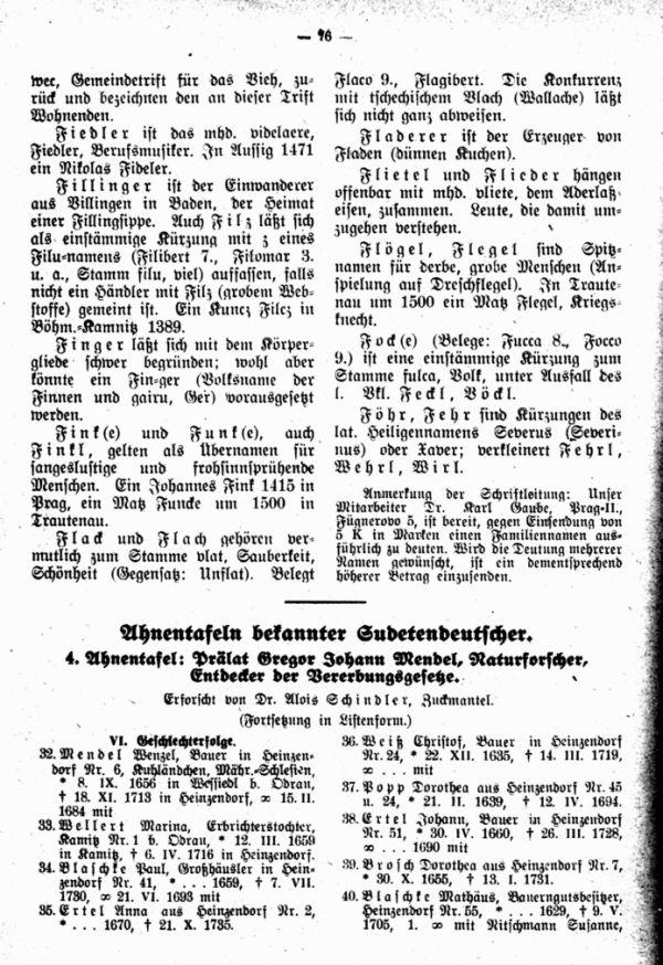 Ahnentafeln bekannter Sudetendeutscher:  4. Gregor Johann Mendl (Fortsetzung) - 1