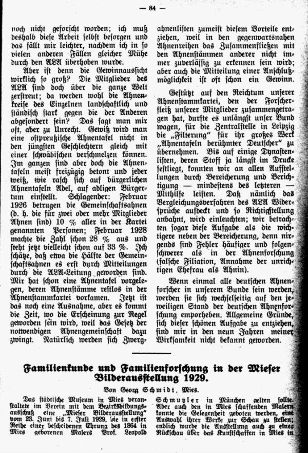 Familienkunde und Familienforschung in der Mieser Bilderausstellung 1929 - 1