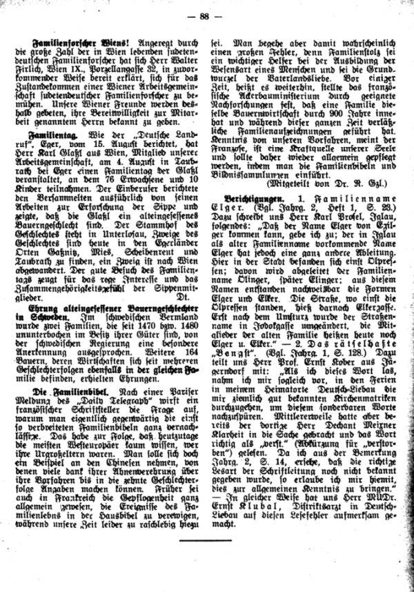 Familienforscher Wiens - Familientag der Glaßl - Die Familienbibel