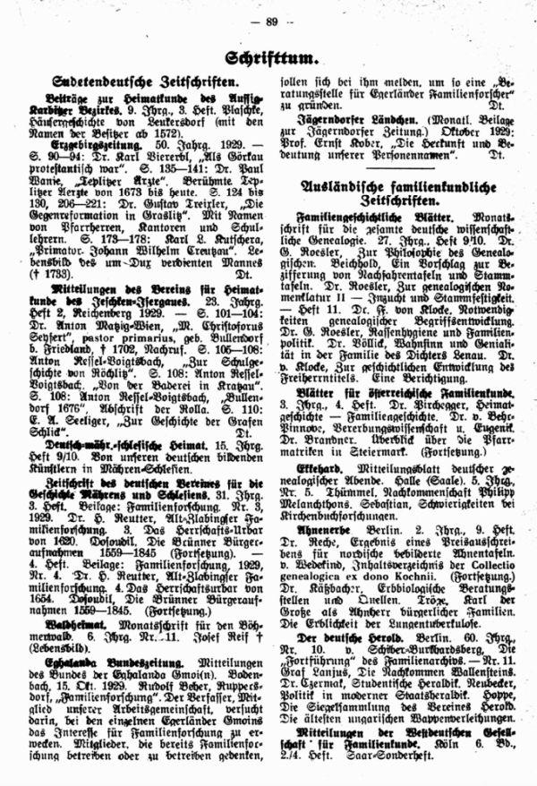 Sudetendeutsche Zeitschriften - Ausländische familienkundliche Zeitschriften