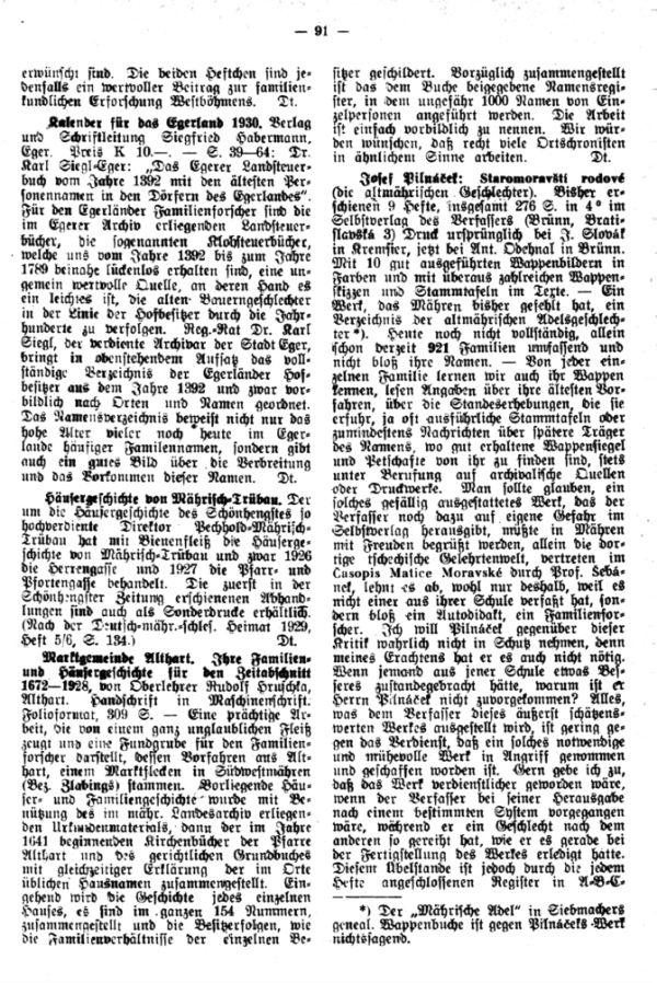 Kalender für das Egerland 1930  - Häusergeschichte von Mährisch Trübau - Marktgemeinde Althart. Ihre Familien- und Häusergeschichte für den Zeitabschnitt 1672-1928