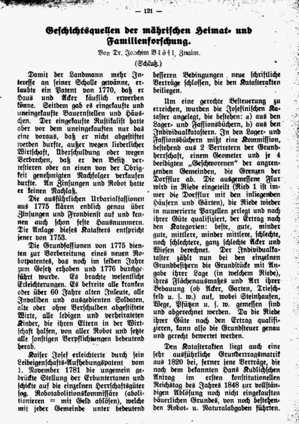 Geschichtlichesquellen der mährischen Heimat- und Familienforschung