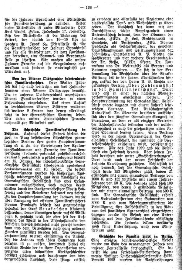 Die tschechische Familienforschung in Böhmen - Geschichte der Familie Hübl in Aussig