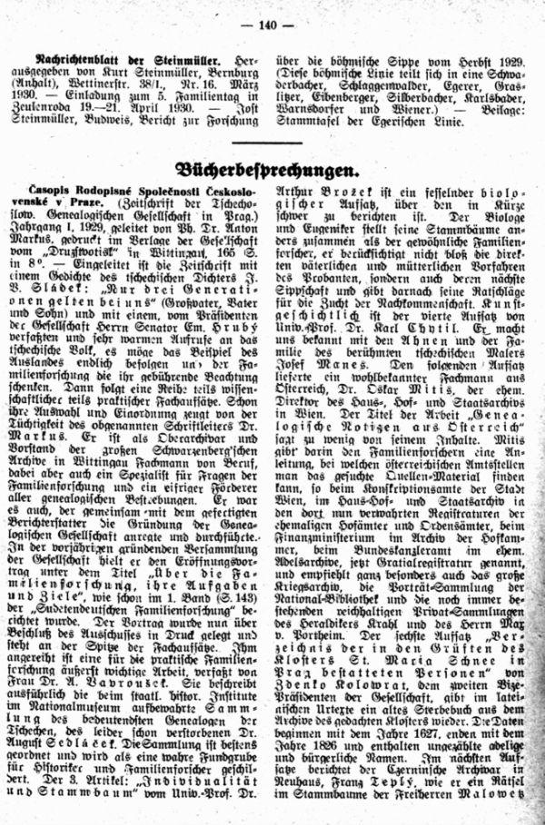 Casopis Rodopisne Spolecnosti Ceskoslovenske v Praze (Zeitschrift der Tschechoslowakischen Genealogischen Gesellschaft in Prag) - 1