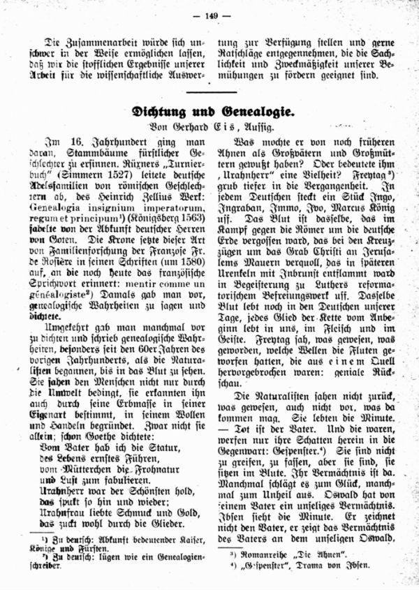 Dichtung und Genealogie - 1
