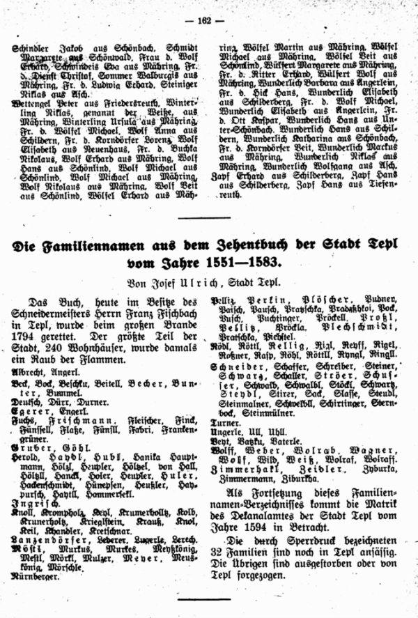 Familiennamen aus dem Zehentbuch der Stadt Tepl vom Jahre 1551-1583