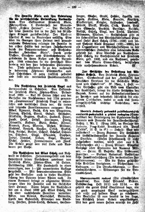 Josef Pilnacek, Staromoravsti rodove (Die altmährischen Geschlechter) - Die Nachfahres des Elias Scholz - Zur Geschichte der Besiedelung des Altstädter Kessels