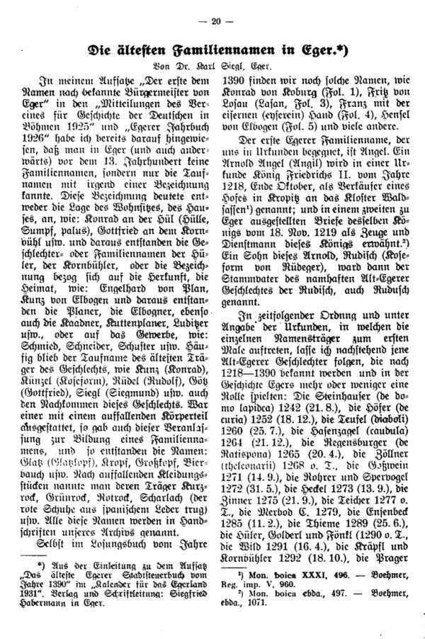 Die ältesten Familiennamen in Eger - 1