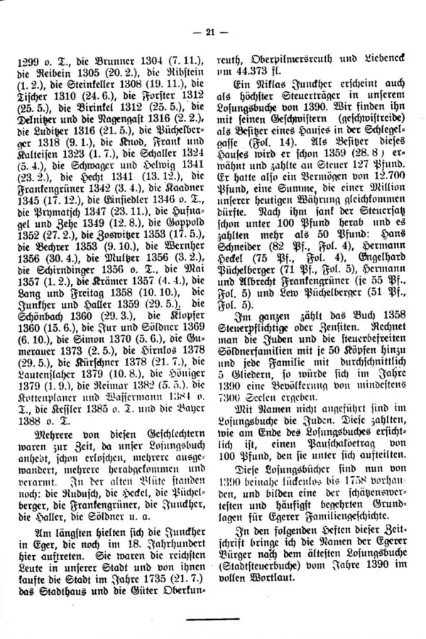 Die ältesten Familiennamen in Eger - 2