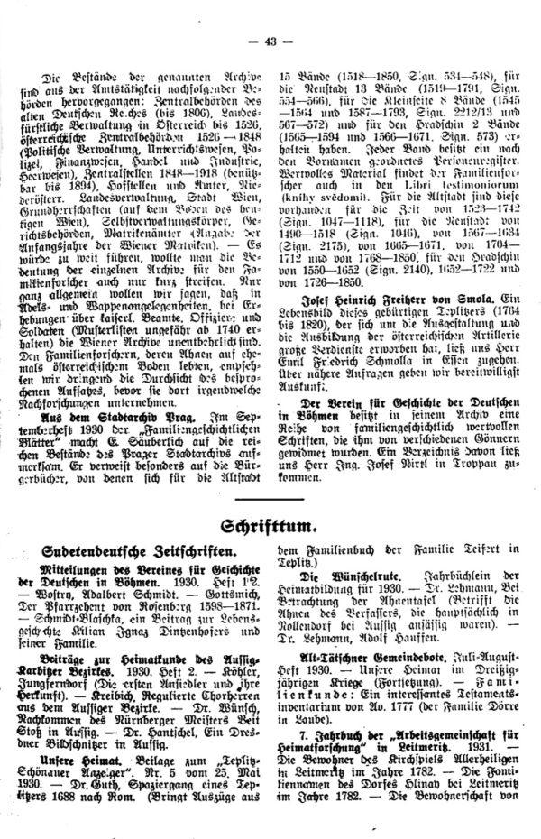 Schrifttum -  Aus der Stadtarchiv Prag - Josef Heinrich Freiherr von Smola