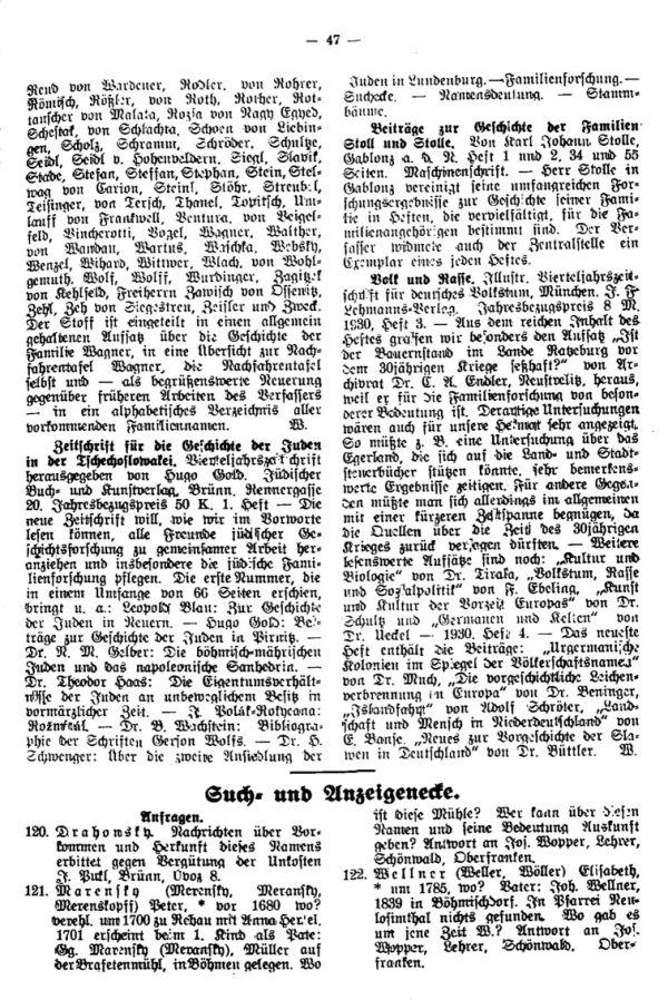 Beiträge zur Geschichte der Familien Stoll und Stolle - Such-  und Anzeigeecke