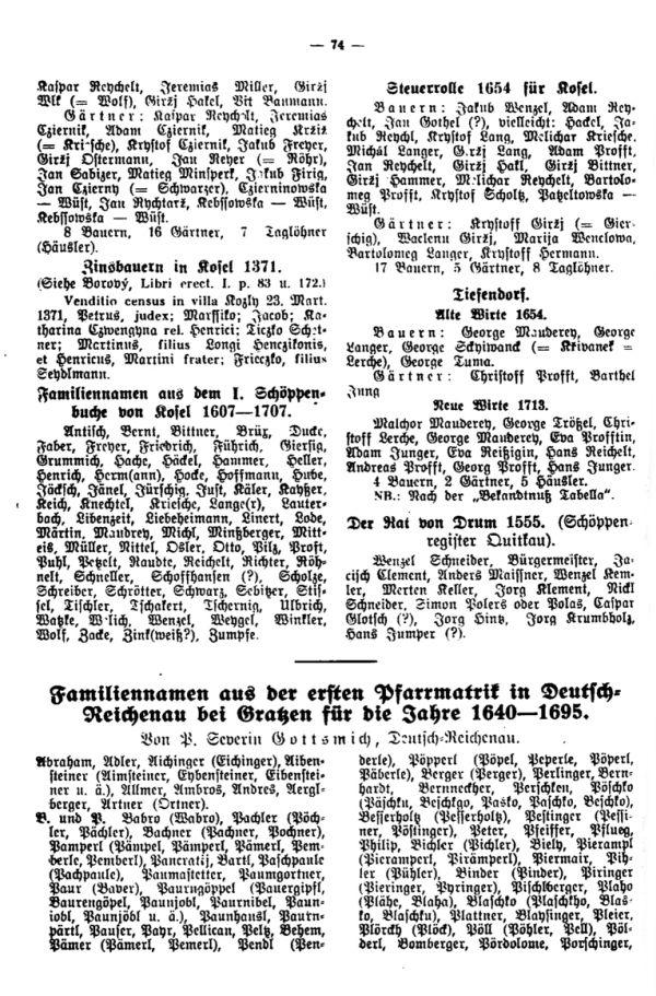Familiennamen aus der ersten Pfarrmatrik in Deutsch-Reichenau bei Gratzen für die Jahre 1640-1695 - 1