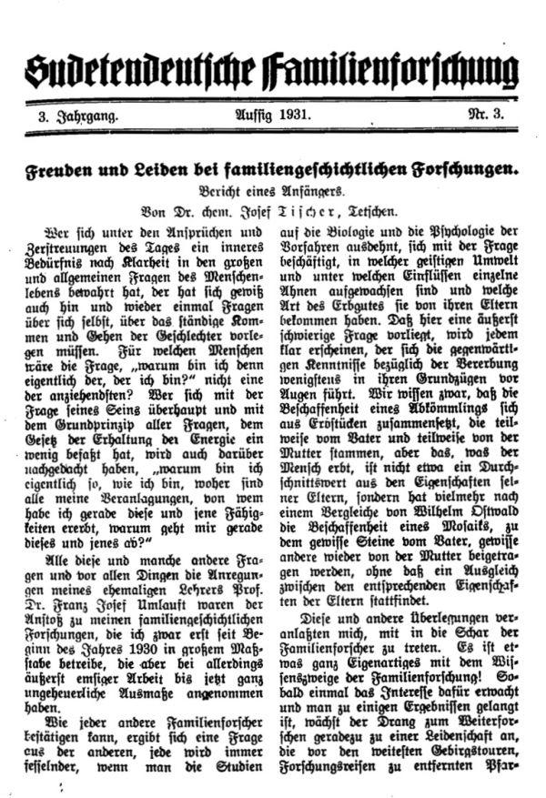 Freuden und Leiden bei familiengeschichtlingen Forschungen - 1