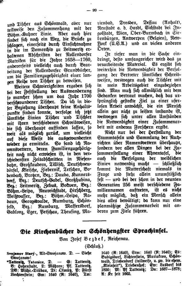 Die Kirchenbücher der Schönhengster Sprachinsel - 1