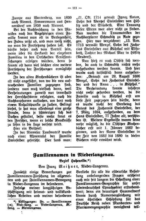 Familiennamen in Niederlangenau - 1