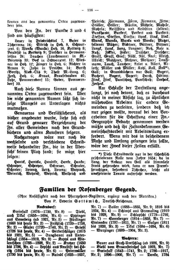 Familiennamen der Rosenberger Gegend - 1