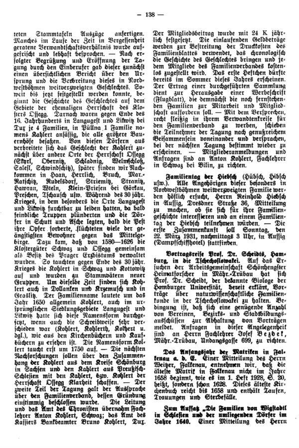 Familientag der Hiebsch - Das Anfangsjahr der Matriken in Falkenau a.d.E. - Zum Aufsatz: Die Familien von Wigstadtl in Schlesien und der umliegenden Dörfer im Jahre 1640