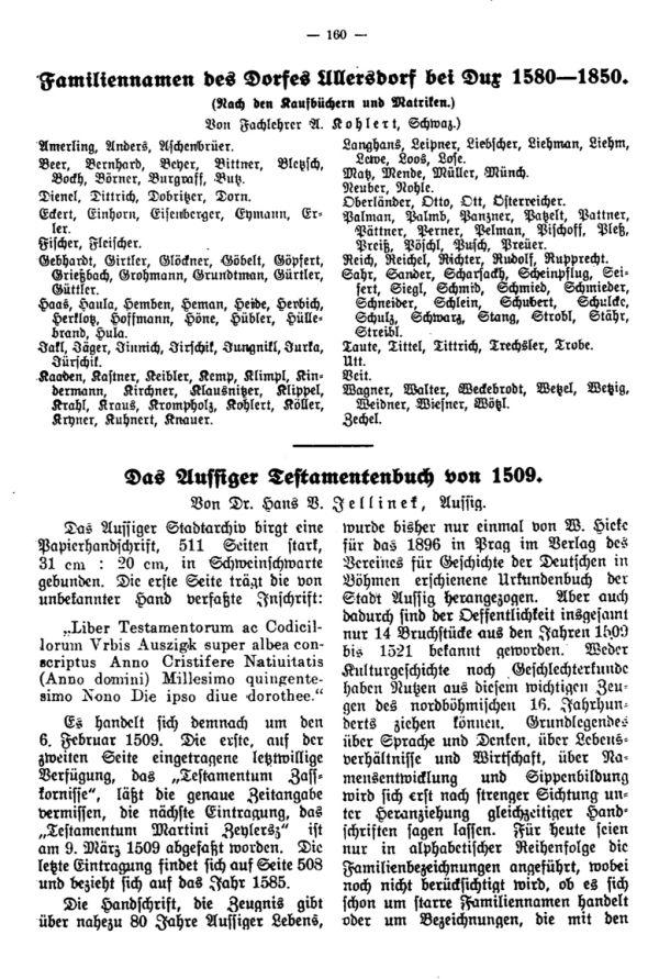 Familiennamen des Dorfes Ullersdorf bei Dux 1580-1850 - Das Aussiger Testamentenbuch von 1509