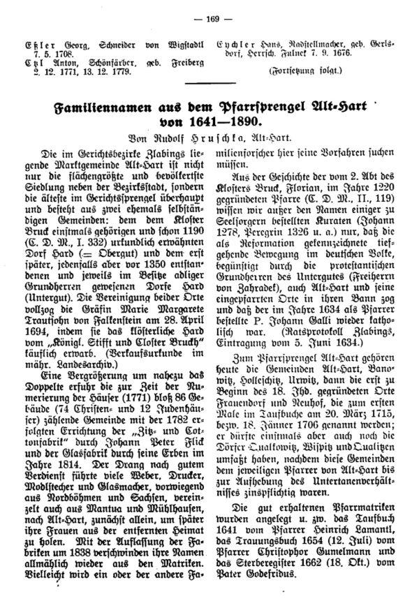 Familiennamen aus dem Pfarrsprengel Alt-Hart von 1641-1890 - 1