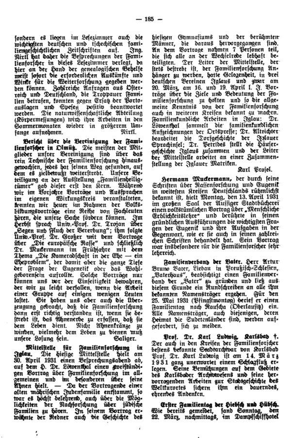 Familientag der Hiebsch -  Hermann Muckermann - Familienverband der Vater - Prof. Dr. Karl Ludwig, Karlsbad +
