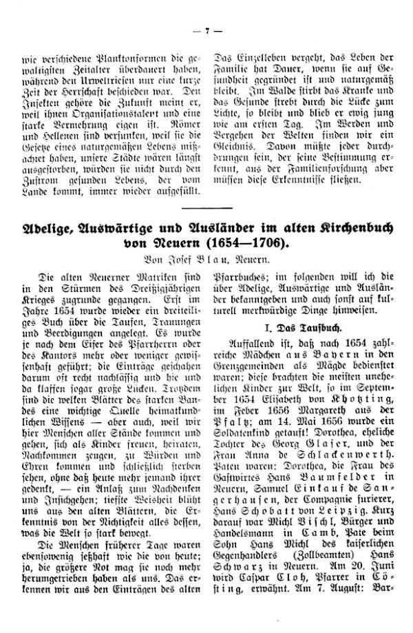 Adelige, Auswärtige und Ausländer im alten Kirchenbuch von Neuern (1654-1706) - 1
