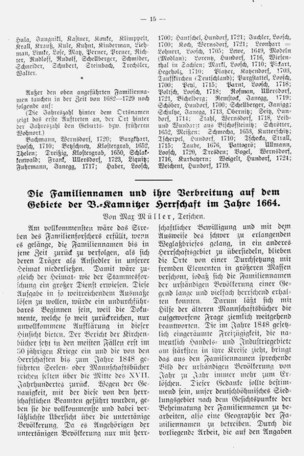 Die Familiennamen und ihre Verbreitung auf dem Gebiete der Böhm.-Kamnitzer Herrschaft im Jahre 1664 - 1