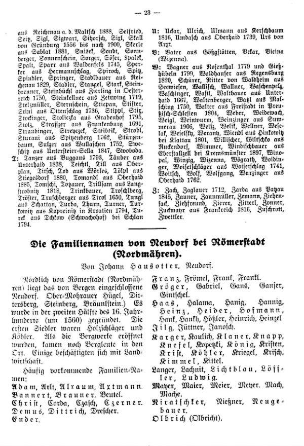 Familiennamen von Neudorf bei Römerstadt (Nordmähren)