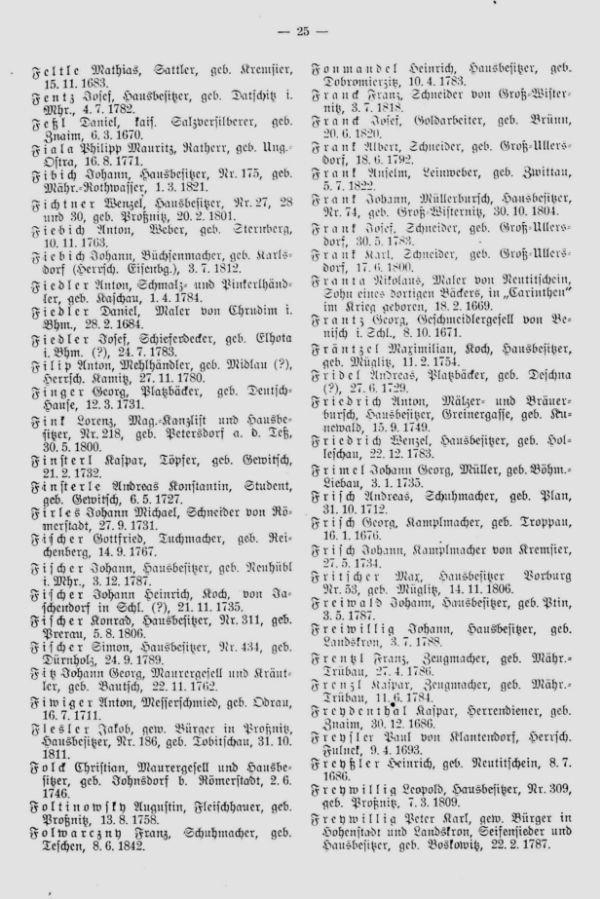 Olmützer Neubürger aus Böhmen, Mähren, Schlesien und der Slowakei 1688-1848 - 2