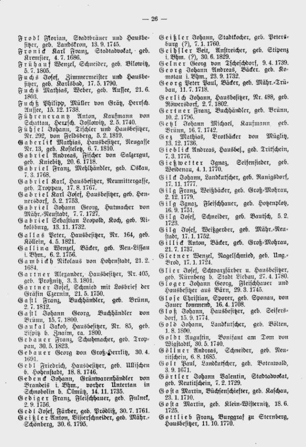 Olmützer Neubürger aus Böhmen, Mähren, Schlesien und der Slowakei 1688-1848 - 3