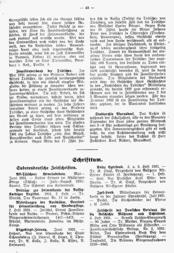 Zeitschriftenschau - Familienverband der Trötscher - Stadtarchiv Warnsdorf