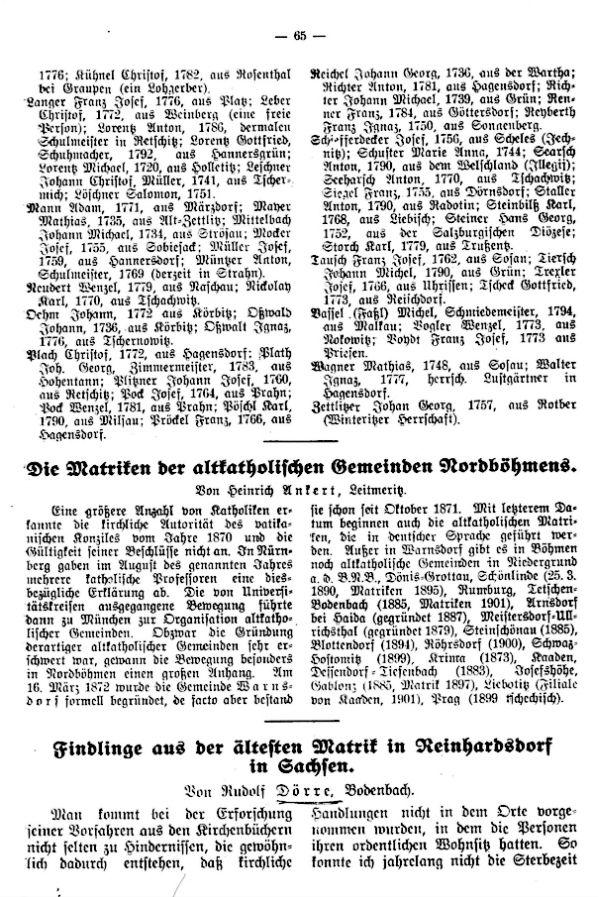 Die Matriken der altkatholische Gemeinden Nordböhmens - Findlinge aus der ältesten Matrik in Reinhardsdorf in Sachsen