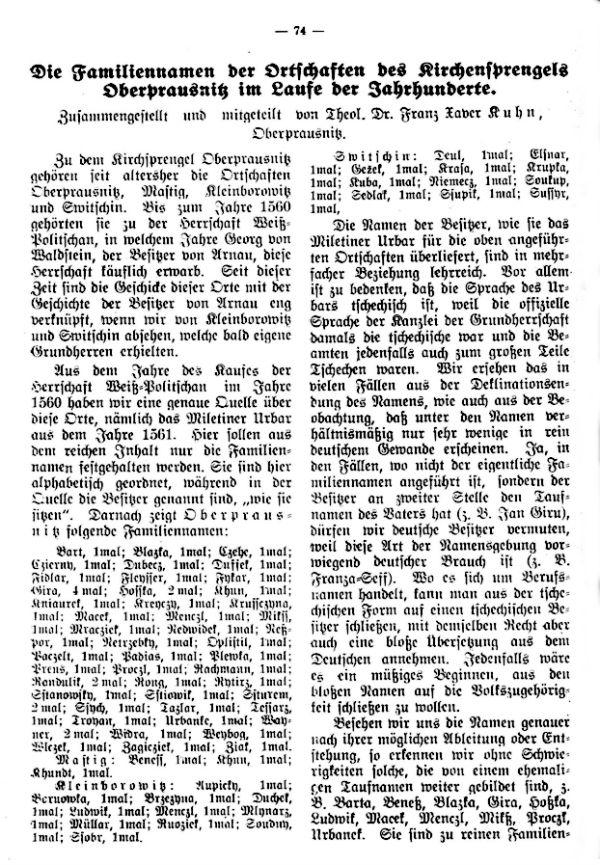 Die Familiennamen der Ortschaften des Kirchensprengels Oberprausnitz in Laufe der Jahrhunderte - 1