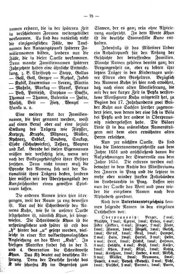 Die Familiennamen der Ortschaften des Kirchensprengels Oberprausnitz in Laufe der Jahrhunderte - 2