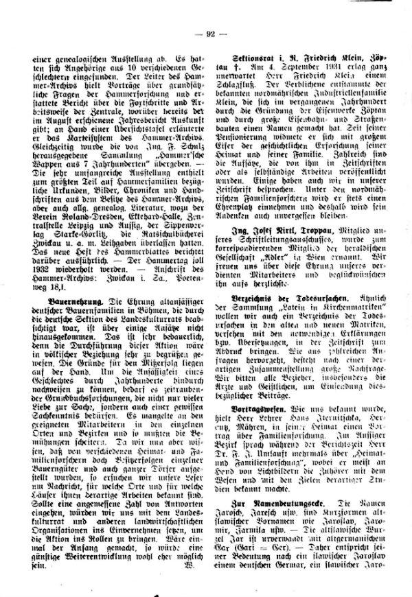 Sektionsrat i.R. Friedrich Klein + - Ing. Josef Nirtl, Troppau - Verzeichnis der Todesursachen - Zur Namensdeutungsecke