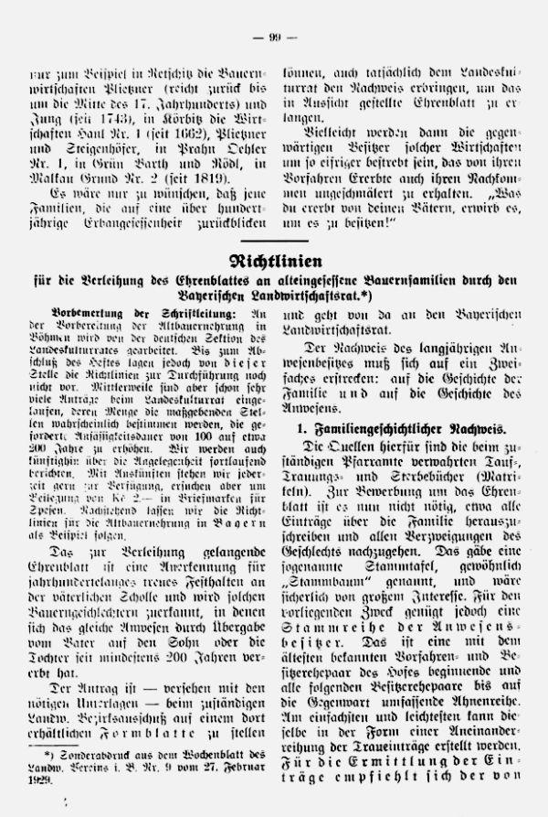 Richtlinien für die Verleihung des Ehrenblattes an alteingessesene Bauernfamilien durch den Bayrischen Landwirtschaftsrat - 1
