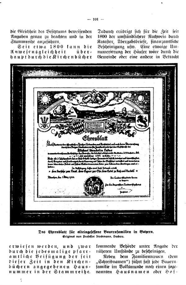 Richtlinien für die Verleihung des Ehrenblattes an alteingessesene Bauernfamilien durch den Bayrischen Landwirtschaftsrat - 3