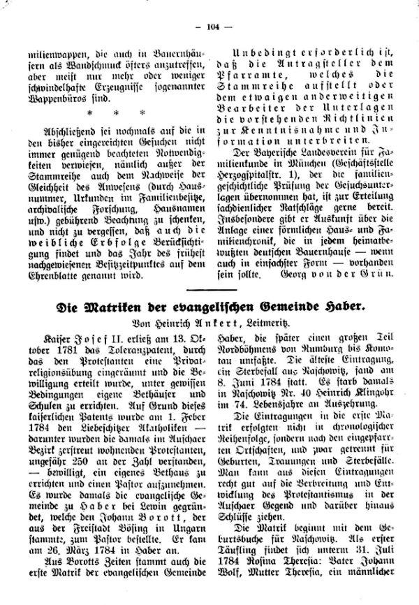 Die Matriken der evangelischen Gemeinde Haber - 1