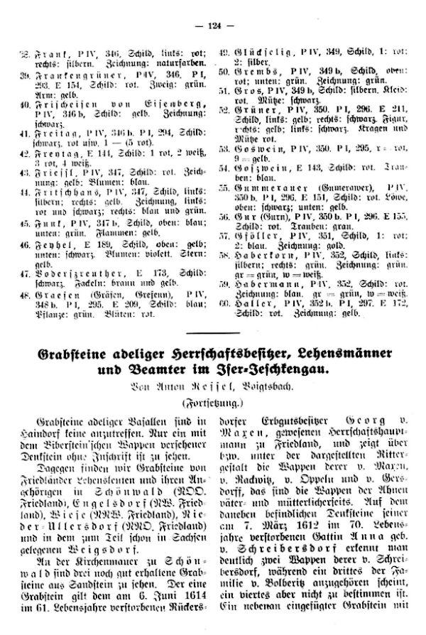 Grabsteine adeliger Herrschaftsbesitzer, Lehensmänner und Beamter im Iser-Jeschkengau - 1