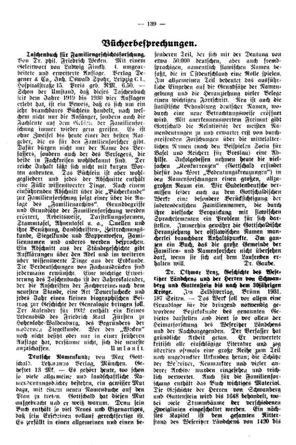 Dr. Lenz, Geschichte des Weseritzer Ländchens und der Herren von Schwanberg
