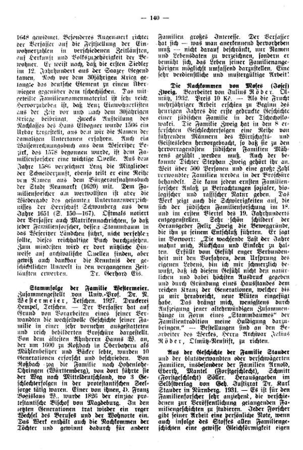 Stammfolge der Familie Moies (Josef) Zweig - Aus der Geschichte der Familie Stauder