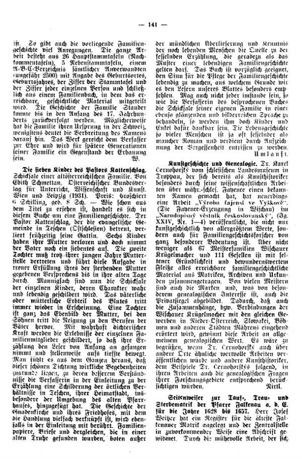 Seitenweiser zur Tauf-, Trau- und Sterbematrik der Pfarre Falkenau a.d.E. (1628-1657)